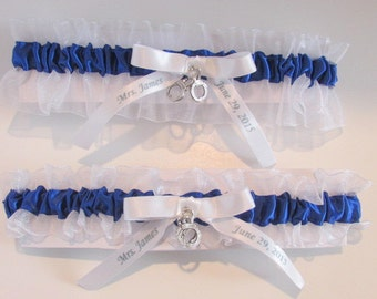 Police Officer Personalized Garter Cop Custom Name wedding Date Handcuff Charms