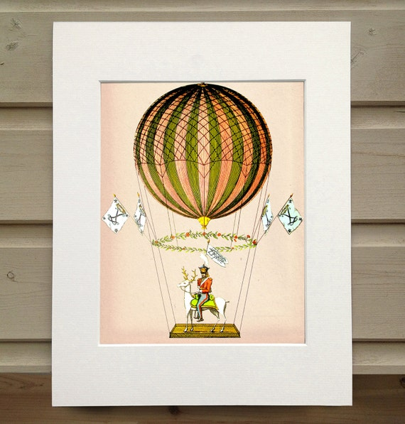 Vintage Hot Air Balloon Zephire Art Print Poster By Loopylolly