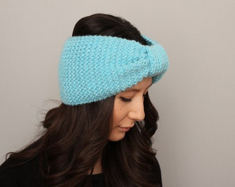 Knitted turban headband  , woman headband  ,ear warmer,aqua