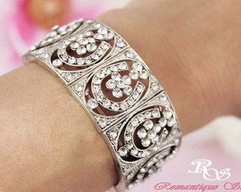 Rhinestone wedding bracelet vintage style crystal bridal bracelet art deco bracelet wedding bracelet bridal jewelry wedding jewelry B0130