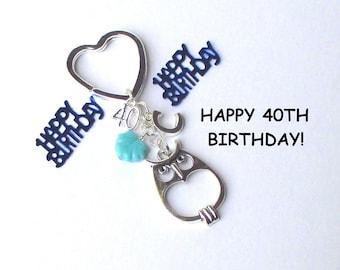 40th birthday gift - Personalised owl keychain - 40th gift for sister, friend, mum, aunt - Custom 40th birthday keychain - owl keyring - UK