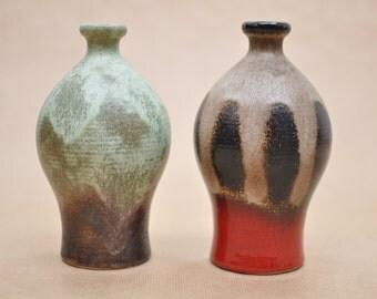 Dümler & Breiden set of 2 vases - Model 1053 - red and black - green brown - vintage West-German pottery