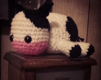 Lazy Cow Amigurumi - Optional Bow in Various Colors - MTO