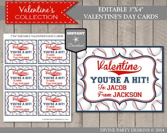 INSTANT DOWNLOAD Editable Baseball Valentine's Day Cards / You Type Names / Valentine's Collection
