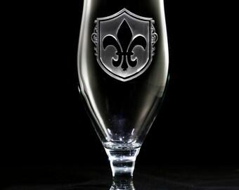 Fleur De Lis Water Goblet Glass Set, French, Paris Theme Decor (SET OF 4)