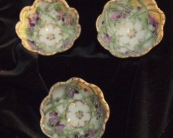 Pretty Painted Bowls with Gold Trim