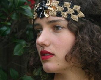 Gold Black Beaded Headbands for Women, Headband, Gold Headband, Boho headband, Flapper Headband Hair Bands for Women, Art Deco Headband