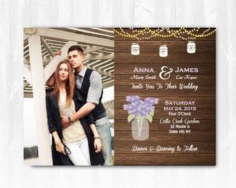 Hydrangea Wedding Invitation DIY PRINTABLE Digital File or Print(extra) Photo Wedding Invitation Rustic Mason Jar Wedding Invitation
