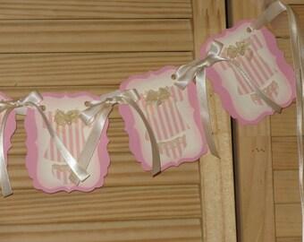 Ivory Lace Onesies, Baby Shower Banner, Onesies Banner, Baby Shower Pink Ivory Onesies, Nursery Banner, Nursery