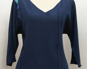 Top / Blouse - art wear by - Ania Zofia - navy silk crinkle crepe de chine decorated with French lace