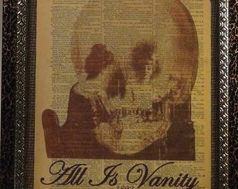 All Is Vanity antique Dictionary Art Book Page