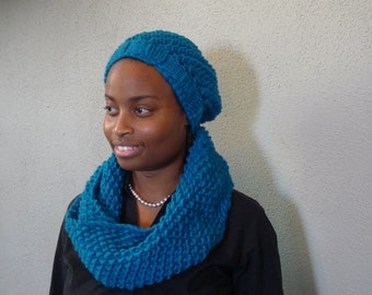 Warm Winter Womens Hand Knit Matching Hat and Scarf made from 100% Wool