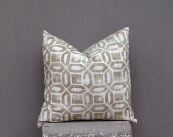 Beige Tan Pillow Cover, Geometric Decorative Throw Pillow Case, Toss Pillow, Circle Accent Pillow, 18x18 Pillow, Ivory