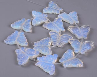 0501 33mm Carved opalite glass butterfly loose gemstone beads 13pcs