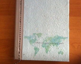 Travel journal in recycled paper hand-bound