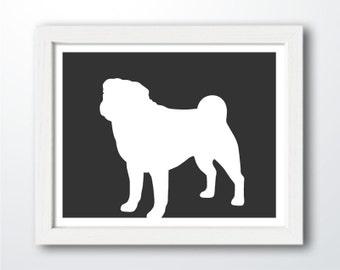 Pug Print - Pug Silhouette (Version 3), Pug art, dog portrait, modern dog home decor