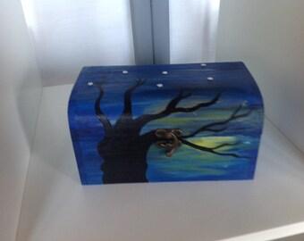 Hand painted tree memory/jewellery box