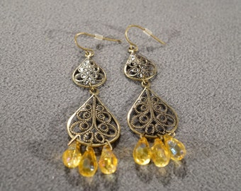 Vintage Art Deco Style Yellow Gold Tone Two Tier Dangle Amber Aurora Borealis Glass Beads Pierced Earrings    K