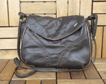 Vintage Dark Brown Leather Bag Shoulder Strap Purse Bag