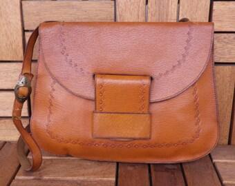 Vintage Tan Brown Tooled Leather Flat Bag With Shoulder Strap