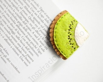 Felt Corner Bookmark, kiwi fruit embroidered bookmark, funny bookmark, back to school gift idea, made to order