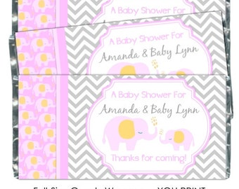 Printable Candy Wrappers, Mod Elephant Baby Shower Candy Wrappers, Mod Elephant Chocolate Bar Candy Wrappers, Baby Shower YOU PRINT wrappers