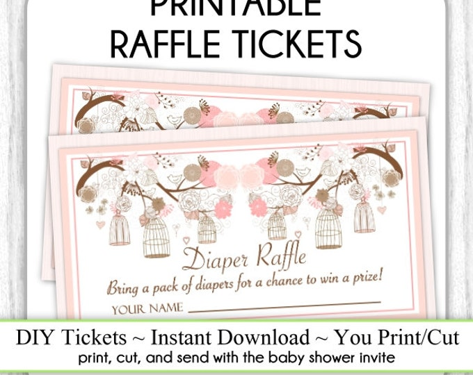 Diaper Raffle Tickets, Birdcage Printable Diaper Raffle Tickets, Sweet Peach Baby Shower Raffle Tickets, YOU PRINT, DIY