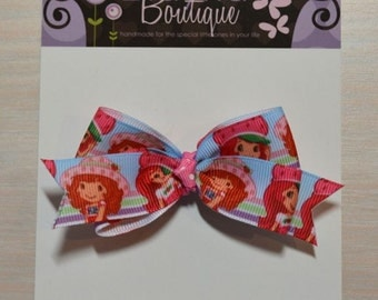 Boutique Style Hair Bow - Strawberry Shortcake