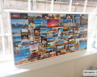 Collage Photo Canvas Print Personalised - 20x40 Inches up to 70 Photos - Premium Hand Made in UK