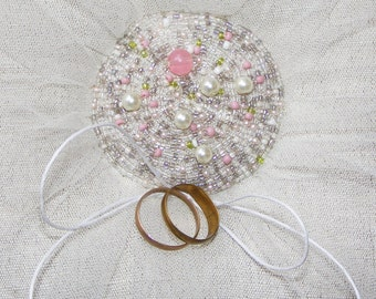 Ring Pillow - embroidered with pearls - romantic - for wedding