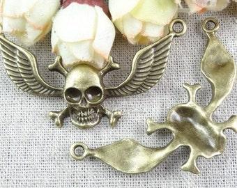 15pcs antiqued bronze  Pirate skulls Wings charm pendant 32×58mm