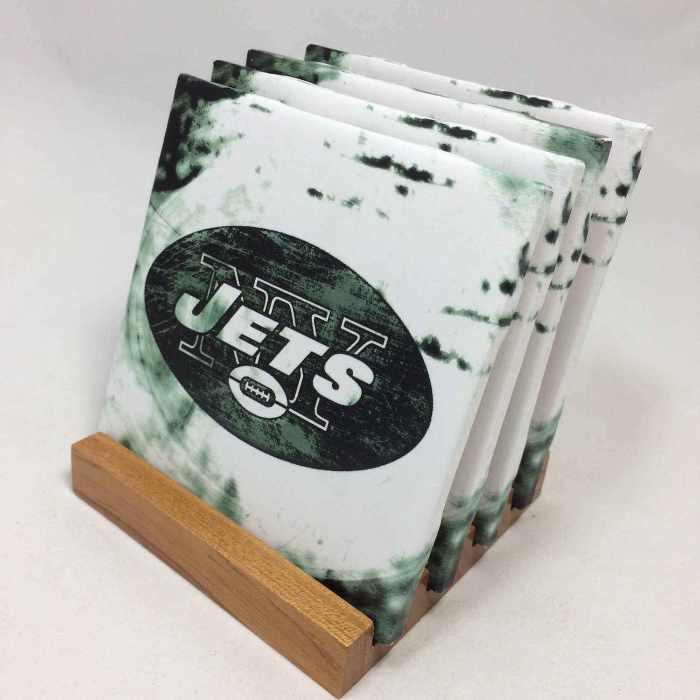 Handmade new york jets drink coasters set of for Handmade drink coasters