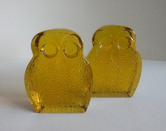 Vintage Blenko Owl Bookends, 2.