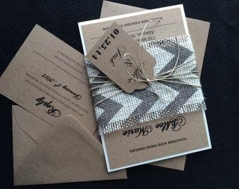 LIZ - (100) Rustic Gray Chevron Burlap Wedding Invitations,  DIY Pricing, Rustic Wedding Invitation, Burlap Wedding Invitation, Gray Chevron