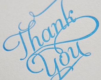 Thank you card, letterpress printed, hand printed, made in Ireland, script font