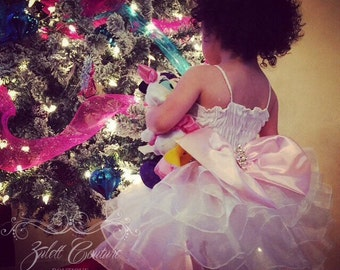 Baptism Dress - Mini Bride Dress - Flower Girl Dress - Lace Dress -  Big Bow - Tulle Dress - Wedding Dress - Luna Dress by Zulett