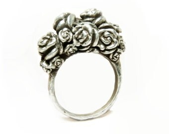 Rose Bouquet Ring || Sterling Silver || One-of-a kind