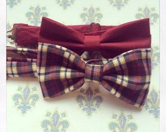 Mens bow tie gift set - tartan bow tie, burgundy bow tie, plaid bow tie