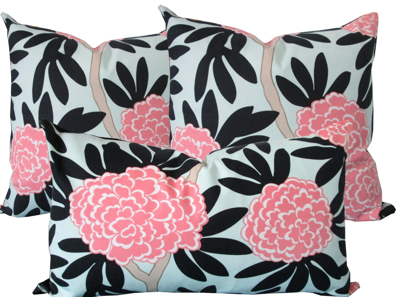 Navy And Pink Decorative Pillows: Pink And Navy Floral-Designer Decorative Pillow Cover-Asian