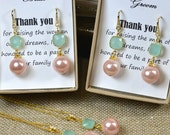 2 sets ( 2 necklaces or 2 earrings ) Mother of the groom bride gift,mother on law gift,thank you for raising the man /the woman of my dream