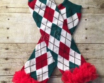 Infant Leg Warmers for Christmas in Red, Green and White Argyle