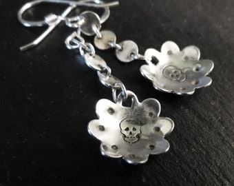 Deathly blossoms sterling silver earrings
