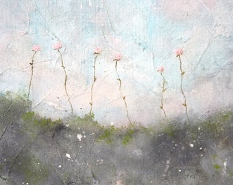 Original Landscape Painting - Floral Painting - Pink Nursery Art