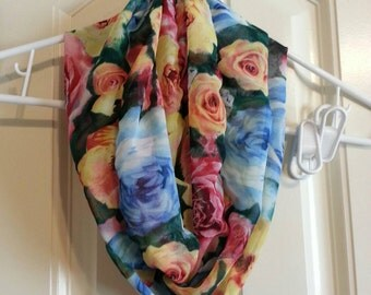 Handmade Bright Colorful Flowers Roses Print Sheer Infinity Scarf Polyester Blend