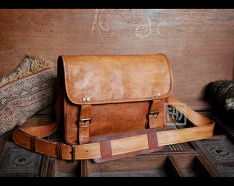 "FHT Camel Leather Messenger Bag Shoulder Satchel 8""x12"""