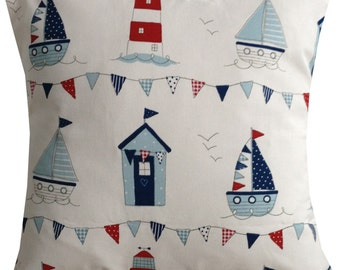 New Beach hut shabby chic vintage white red blue nautical seaside cushion cover