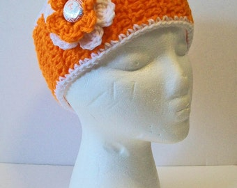 Trendy Orange and White Tennessee Inspired Hand Crocheted Headband Ear Warmer Child & Adult Sizes Available