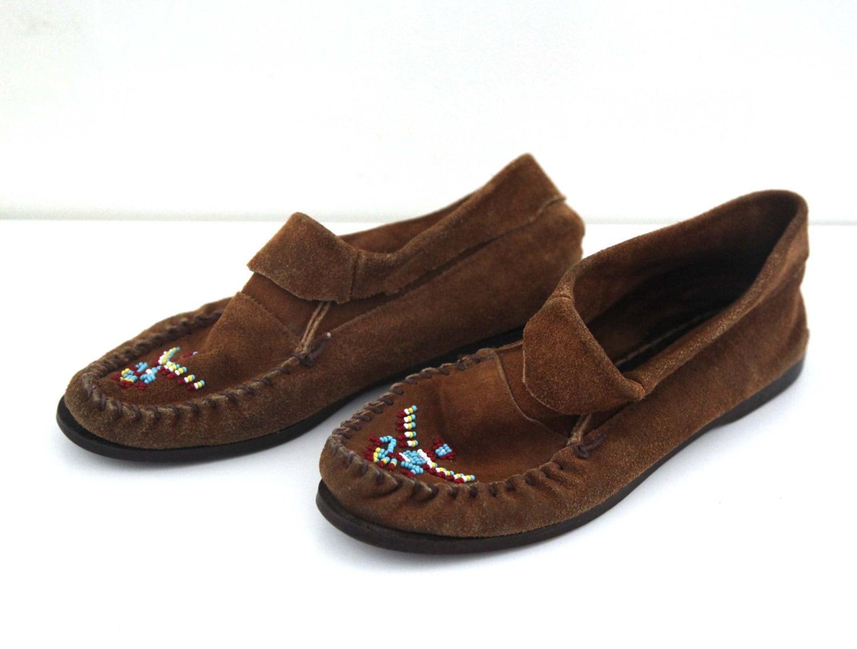 vintage minnetonka moccasins beaded leather