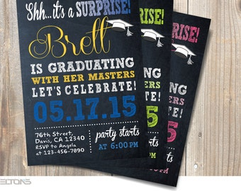 Graduation Invitation, Graduation party Announcement, Surprise Graduation Party Invitation, Custom Colors, Digital printable DIY