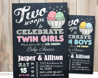 Twins baby shower / Two scoops / Ice cream Baby Shower / co-ed BBQ baby shower / DIY